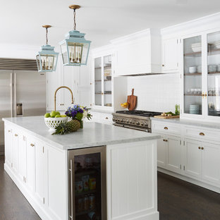 Transitional Kitchen Ideas Example Of A L Shaped Dark Wood Floor And Brown