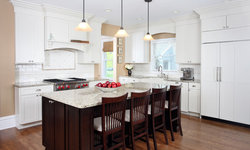 White and Cherry Transitional Style Kitchen