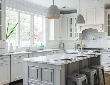 White and gray kitchen.