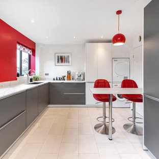 White and Grey Contemporary Kitchen with Red Accents