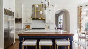 White and navy Raleigh kitchen remodel