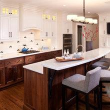 Kitchen - Cherry/Walnut Lowers White Upper Cabinets