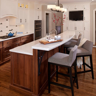 Mid-sized transitional galley dark wood floor kitchen photo in Minneapolis with beaded inset cabinets, beige cabinets, an undermount sink, quartz countertops, white backsplash, ceramic backsplash, an island and stainless steel appliances