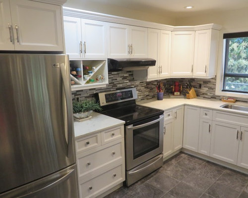 White Beveled Shaker Kitchen - Long Lake, Nanaimo (Cabinet ...