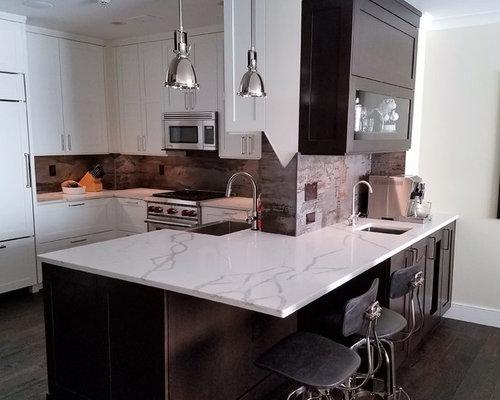 White/Black Transitional Kitchen & Bar with Dekton Trilium Backsplash