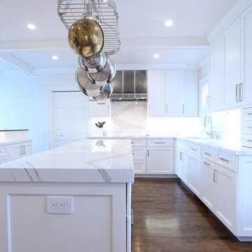 White Cabinets with Marble Looking Quartz Countertop