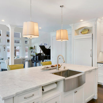 White Coastal Kitchen with Island