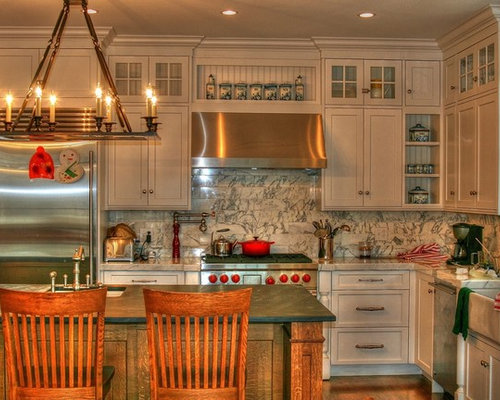 Example Of A Classic Kitchen Design In New York With Recessed Panel Cabinets Beige