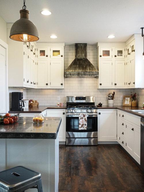 Small Farmhouse Kitchen Pantry Appliance   Inspiration For A Small  Farmhouse U Shaped Dark Wood