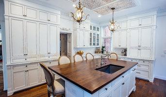 White Glazed Kitchen with Walnut Island Top