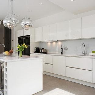 White gloss island kitchen