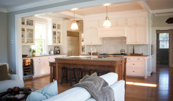 WHITE INSET KITCHEN WITH OAK ISLAND