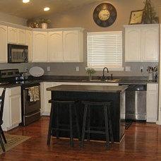 Traditional Kitchen White Kitchen Cabinets & Black Island