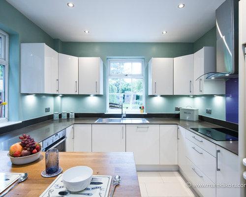 White Kitchen Dark Worktops With Duck Egg Blue Walls