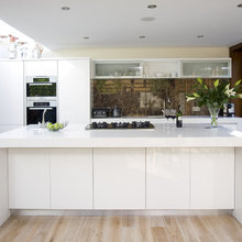 Brown and white kitchen