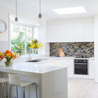 Walnut And White Transitional Kitchen Boston By