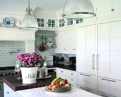 Kitchen Backsplash White tile backsplash and white cabinets | houzz