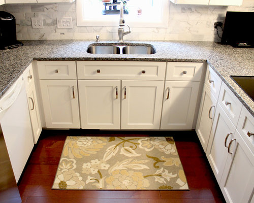 White Kitchen Refaced Cabinets with Gray Granite ...