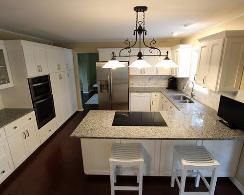 White Kitchen Refaced Cabinets with Gray Granite Countertops ~ Medina, OH