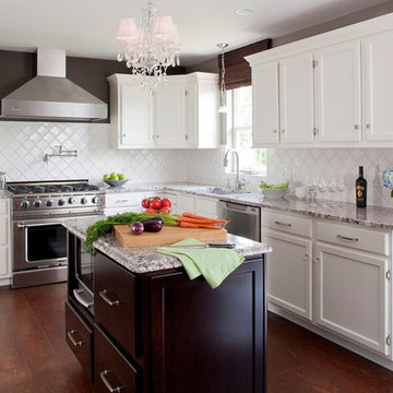 White Kitchen, Stained Island with Bianco Antico Granite, Cork Floors