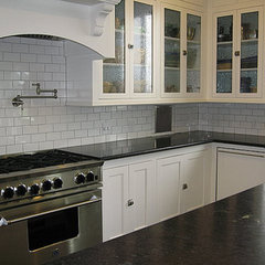 traditional kitchen White Kitchen Subway Tile Soapstone Counters