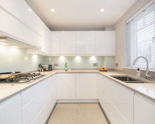 White modern kitchens houzz for Modern kitchen white cabinets
