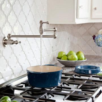 White Kitchen with Bianco Antico Granite, Beveled Arabesque tile