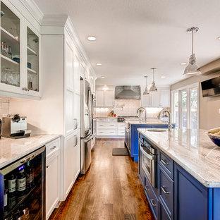 White Kitchen with Custom Blue Island