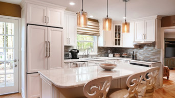 White Kitchen with Desk and Island in Pikesville, MD