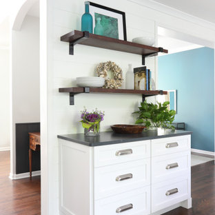 White Kitchen with Reclaimed Wood Accents and Dash of Blue