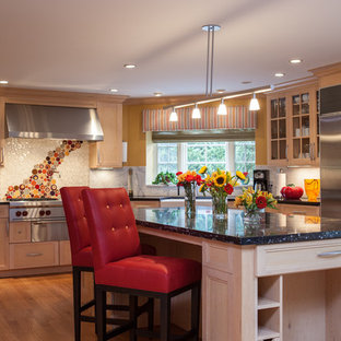 White Kitchen with Red Bar Stools