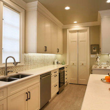 White Kitchen with Thick Crown Moulding