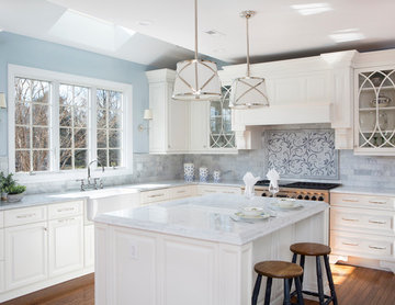 White Kitchen with Touches of Blue