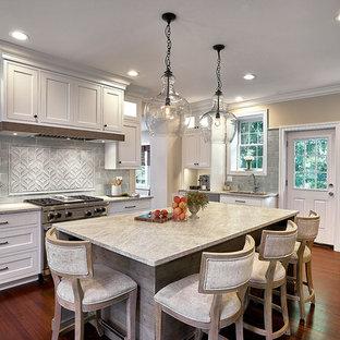 シカゴの大きいトランジショナルスタイルのおしゃれなキッチン (アンダーカウンターシンク、インセット扉のキャビネット、白いキャビネット、珪岩カウンター、青いキッチンパネル、セラミックタイルのキッチンパネル、シルバーの調理設備、無垢フローリング、赤い床、グレーのキッチンカウンター) の写真