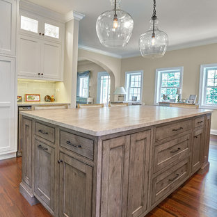 White kitchen with Unique Island
