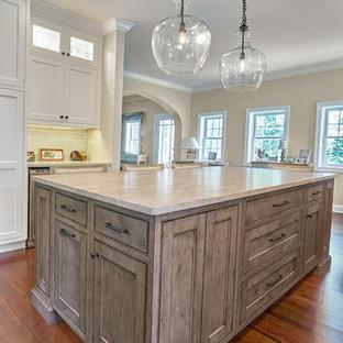 シカゴの大きいトランジショナルスタイルのおしゃれなキッチン (アンダーカウンターシンク、インセット扉のキャビネット、白いキャビネット、珪岩カウンター、青いキッチンパネル、セラミックタイルのキッチンパネル、シルバーの調理設備の、無垢フローリング、赤い床、グレーのキッチンカウンター) の写真