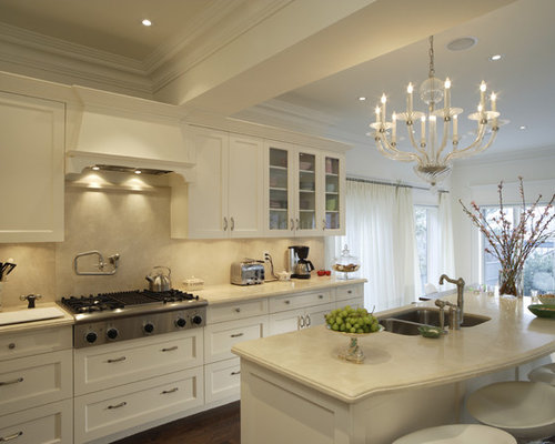 Marvelous Inspiration For A Timeless Kitchen Remodel In Los Angeles With Glass Front  Cabinets, A