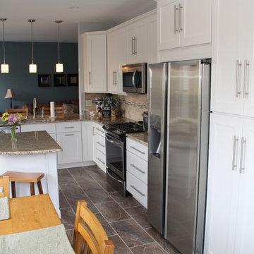 White L-Shape Open Kitchen