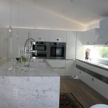 White Laquer and Dark Oak Kitchen