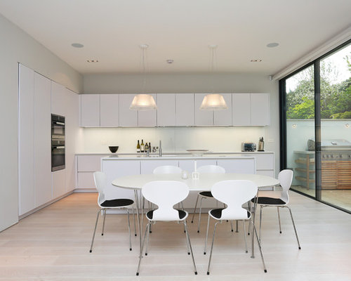 Open Concept Kitchen   Contemporary Light Wood Floor Open Concept Kitchen  Idea In London With Flat