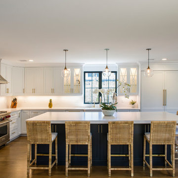White Modern Kitchen with Compac Quartz Counters and Island