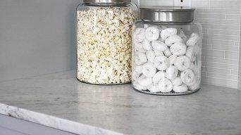 White Moura Marble Kitchen