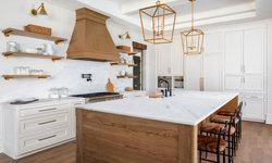White oak accents in White kitchen