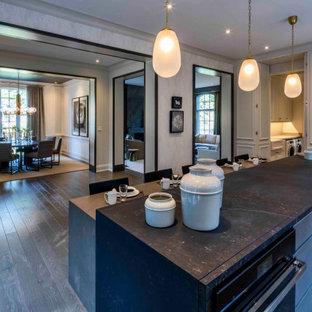 トロントのミッドセンチュリースタイルのおしゃれなアイランドキッチン (大理石カウンター、無垢フローリング、緑の床) の写真