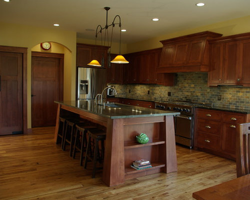 Example Of A Large Arts And Crafts L Shaped Open Concept Kitchen Design In  Milwaukee