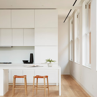 Minimalist galley light wood floor and beige floor kitchen photo in New York with flat-panel cabinets, white cabinets, an island and white countertops