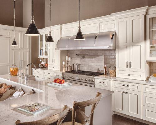 White Transitional Kitchen | Houzz