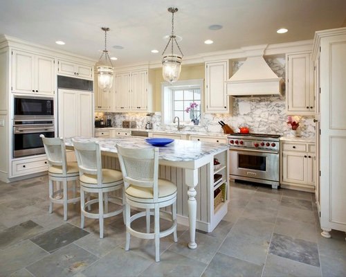 Tile floor white cabinets houzz for White kitchen cabinets with tile floor