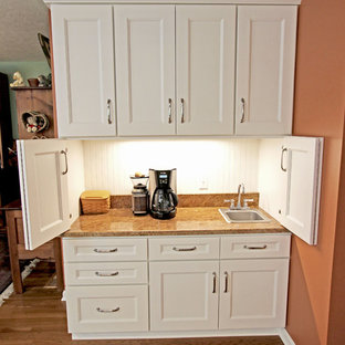 White Refaced Kitchen Cabinets with New Hardware, Coffee Bar