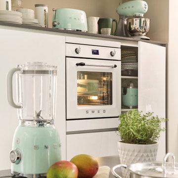 White Retro Kitchen with Smeg Small Kitchen Appliances